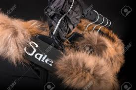 Coat Rack Black Friday Sale Sign A Lot Of Black Coats Jacket With Fur On Hood Hanging 30