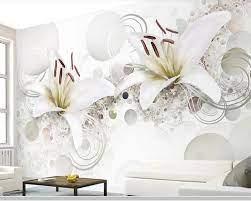 Kertas Dinding 3d Motif Bunga Lili ...