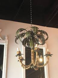 vintage palm tree frond leaf leaves chandelier metal tole palm beach
