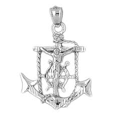 sterling silver mariners cross crucifix pendant rhodium yellow rose or black gold plated
