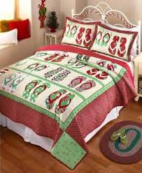 Flip Flop Holiday Christmas Quilt Bedding Coastal Beach Print ... & Image is loading Flip-Flop-Holiday-Christmas-Quilt-Bedding-Coastal-Beach- Adamdwight.com