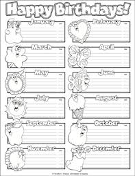 Happy Birthdays Chart Printable Labels Name Tags And
