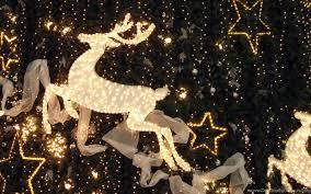 Wallpaper: Christmas, Reindeer, Lights ...