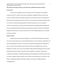 positive and negative effects of the industrial revolution essay thematic essay theme economic change task philosophies of the industrial revolution group assignment writing essays for