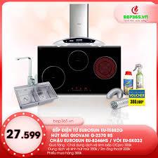 Combo Bếp điện từ Eurosun EU -TE882G + Hút mùi Giovani G 2370RS + Chậu  Eurosun EU-8246HS + Vòi Eurosun EU- SK032