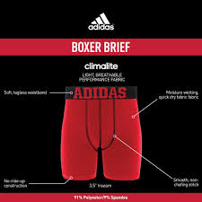 Adidas Inseam Chart Adidas Boys Youth Sport Performance Climalite Midway Long Boxer Brief Underwear 2 Pack