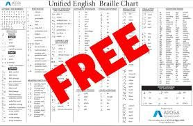 Aroga Technologies Store Unified English Braille Chart
