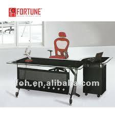 tempered glass office desk. Modern Moving Cabinet Return Black Tempered Glass Top Executive Office Desk (FOHYTJ-8050) R