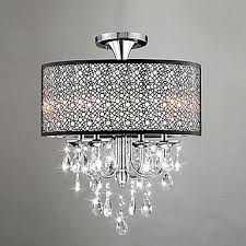 max 60w modern contemporary drum crystal mini style chrome chandeliers living room bedroom dining room study