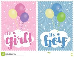 Boy Or Girl Baby Announcement Baby Girl And Baby Boy Card Stock Illustration