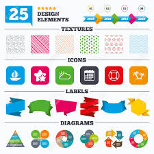 Offer Sale Tags Textures And Charts Travel Icons Sail Boat