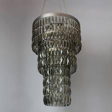 smoke crystal long chandelier