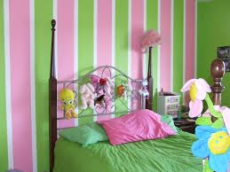 Pink And Green Home Decor Pink Green Stripped Wall With Dark Brown Wooden Bed With Curving