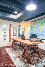basement makeover ideas. Ugly Basement Makeover Ideas -- Painted Ceiling With Water Skis And Black White Collage In Manly Decor Office Space #basemen\u2026