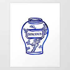 bonjour korean apricot flower ceramic vase blue and white printable wall art minimalist wall art art print