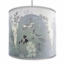 rabbit lamp shade grey blue with detailed print of running bunny rabbits 9