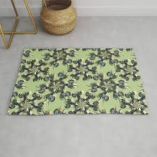 Tattoo Flowers On Light Green Rug By Pearlposition