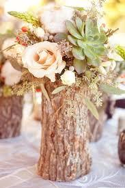 tree stump vase fall wedding centerpiece