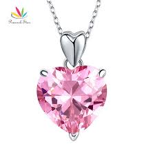 925 sterling silver pink heart created diamond pendant necklace bridesmaid