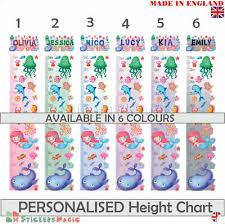 Sea Mermaid Personalised Height Chart Sticker Measure