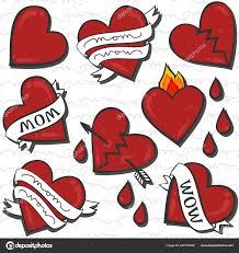 Maminka Wow Srdce Tetování Vzor Bezešvé Bílém Poznámkami Stock