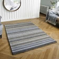 carter grey striped wool rug