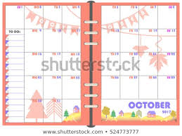 Daily Scheduler Template Interesting Calendar Daily Planner Template Monthly October Stock Vector