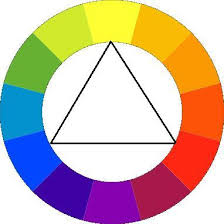 Now looking at the color wheel, draw a balanced triangle in the color wheel  and those three colors all match each other. Take for example: Blue, ...