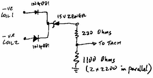 rev counters on cosworth conversions page s series pistonheads so you d need to take a 3rd 1n4001 or similar diode to the zener the reason for the resistors was that at a certain revs the tacho would stop reading