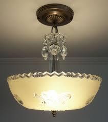 antique 1930s vintage art deco beige glass ceiling light fixture chandelier