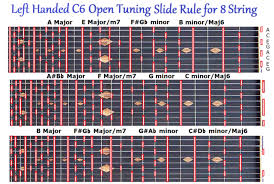 C6 Tuning Slide Rule Chart For 8 String Lap Pedal Steel Guitar