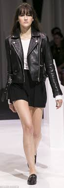 las in leather on the runway leather jackets were paired with flirty skirts and loafers