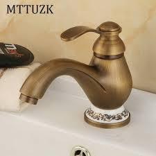 antique brass bathroom faucet. MTTUZK Antique Brass Bathroom Faucet, Basin Faucet Hot\u0026cold Mixer Tap Blue And White Porcelain Base A