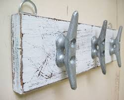 Distressed White Coat Rack Boat Cleat Key Rack Distressed White Nautical 9