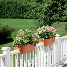 Beautiful White Wooden Fencing Lowes Chain Link Rail with Double Brown Flower  Pot for Outdoor Decorating