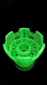 reduced striking art deco uranium glass vase and by vintagedecouk