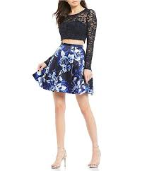 Sequin Hearts Long Sleeve Lace Top With Floral Skirt Two Piece Dress