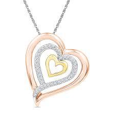 t w diamond triple row tilted heart pendant in 10k tri