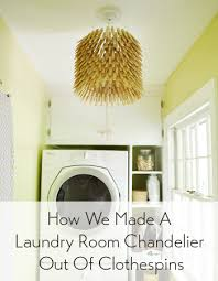 making a laundry room chandelier using clothespins