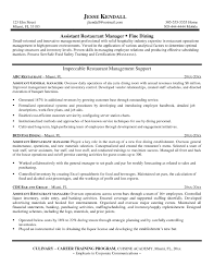 Assistant Manager Resume Restaurant Resume Cover Letter Example