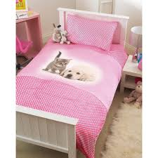 childrens pink puppy kitten single bed duvet cover pillowcase set