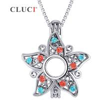 cluci 925 sterling silver star cage pendant women zircon gemstone charm pendant star shaped charms silver