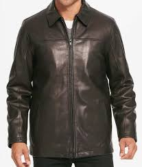 casual mens black leather shirt style collar jacket