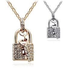 european full diamond lock key pendant