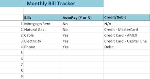 Credit Card Tracker Excel Monthly Bill Tracker Excel Spreadsheet
