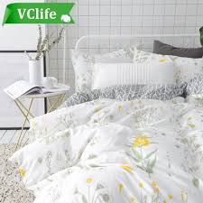 vclife fl duvet cover sets full queen bedding sets white yellow flower branches design bedding duvet cover sets cotton comforter cover sets for all