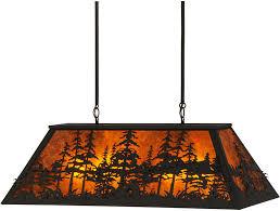 lovely island lighting meyda 149321 tall pines wrought iron amber mica kitchen
