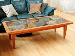 Unique Tabletops. Slate Tile Table Finished with Tapered End Table Legs &  Skirting