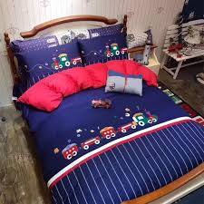 navy blue white red and green railroad themed vintage train and striped print funky kids boys girls twin full size bedding sets