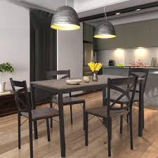 Amazoncom Dporticus 5 Piece Dining Set Industrial Style Wooden